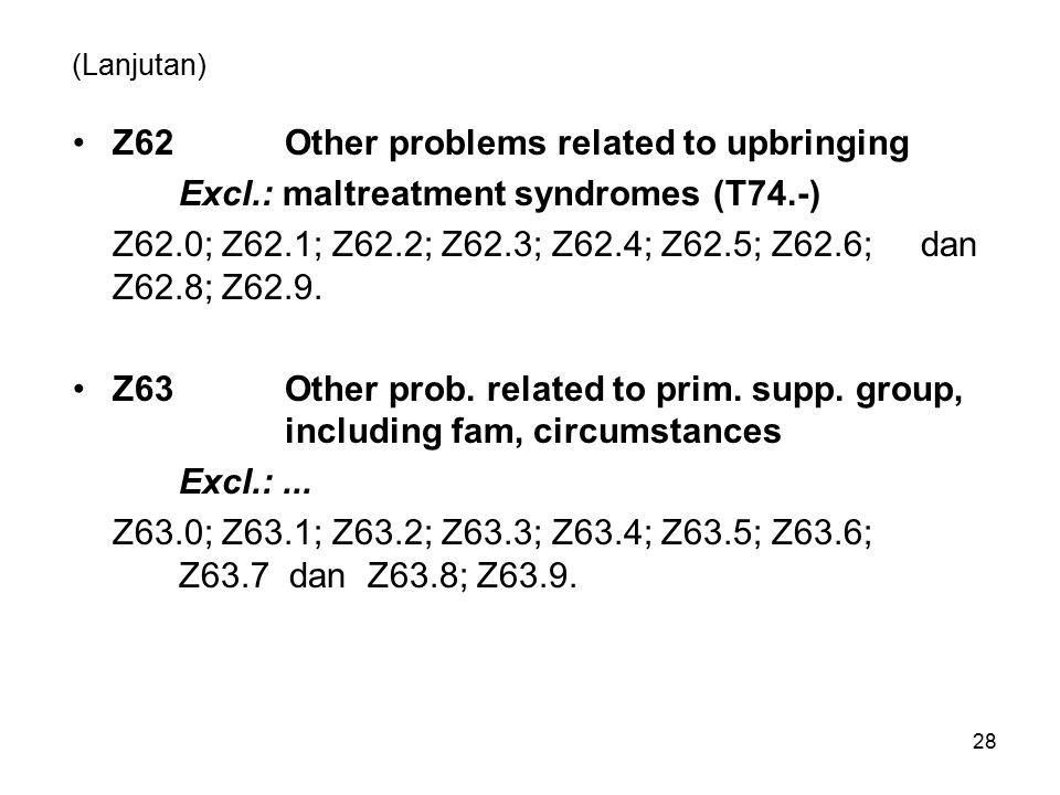 (Lanjutan) Z62Other problems related to upbringing Excl.: maltreatment syndromes (T74.-) Z62.0; Z62.1; Z62.2; Z62.3; Z62.4; Z62.5; Z62.6; dan Z62.8; Z