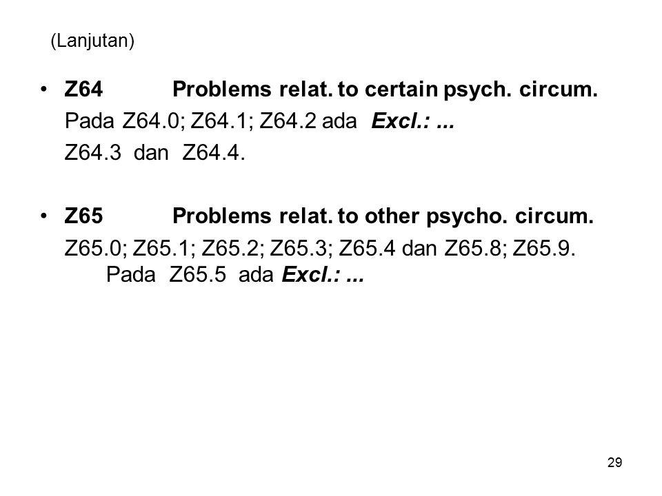 (Lanjutan) Z64Problems relat. to certain psych. circum. Pada Z64.0; Z64.1; Z64.2 ada Excl.:... Z64.3 dan Z64.4. Z65Problems relat. to other psycho. ci