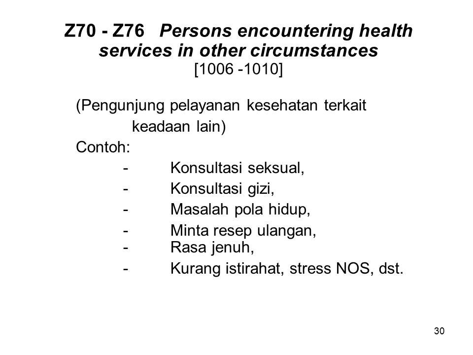 Z70 - Z76Persons encountering health services in other circumstances [1006 -1010] (Pengunjung pelayanan kesehatan terkait keadaan lain) Contoh: -Konsu