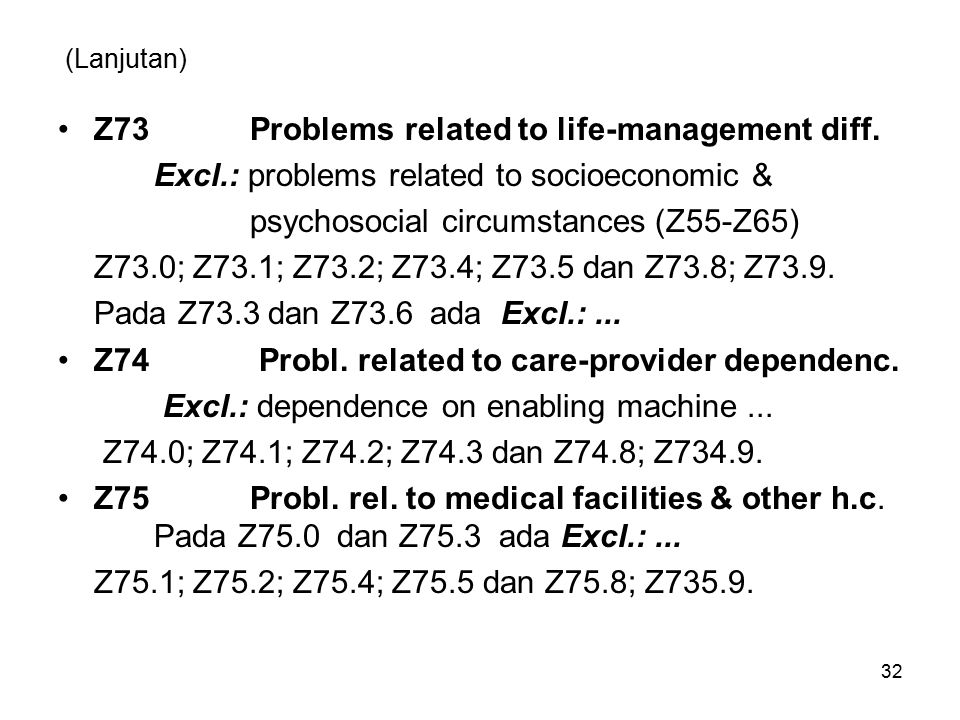 (Lanjutan) Z73Problems related to life-management diff.