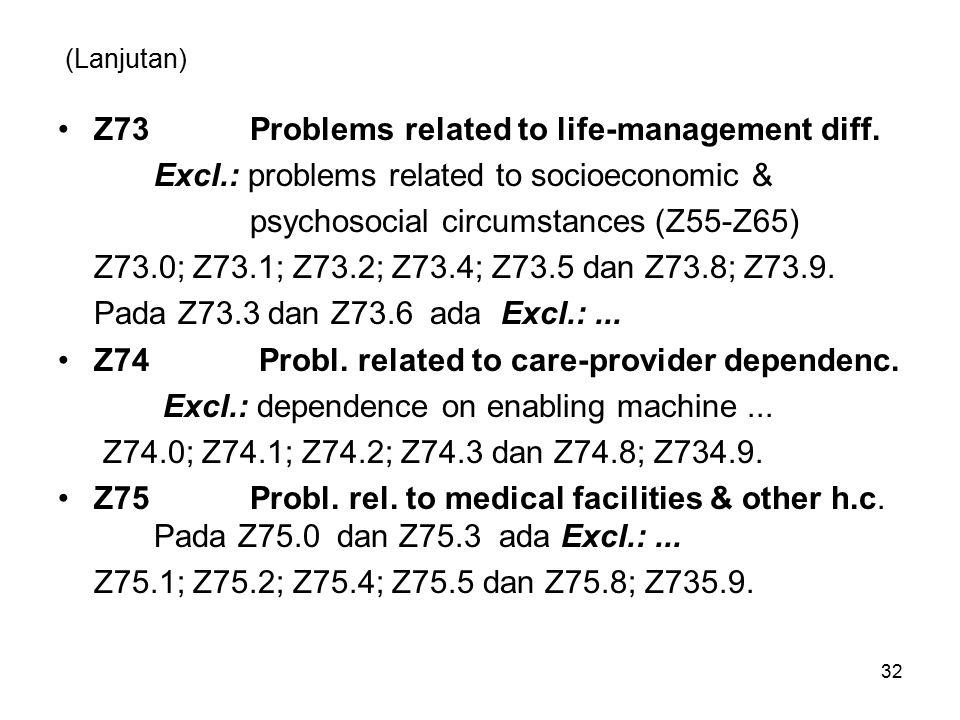 (Lanjutan) Z73Problems related to life-management diff. Excl.: problems related to socioeconomic & psychosocialcircumstances (Z55-Z65) Z73.0; Z73.1; Z