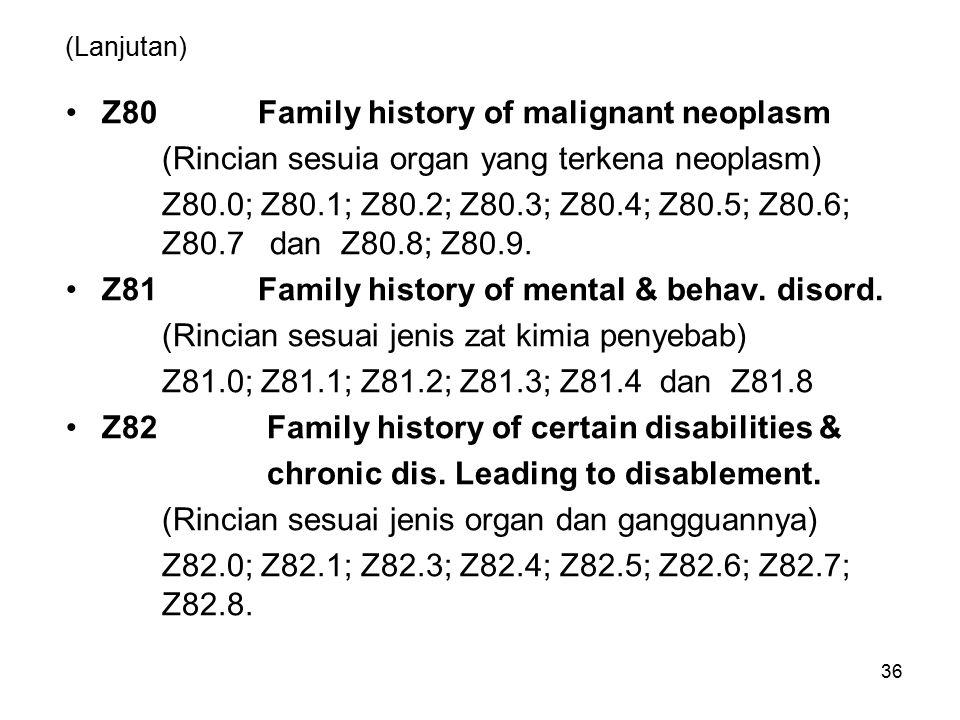 (Lanjutan) Z80Family history of malignant neoplasm (Rincian sesuia organ yang terkena neoplasm) Z80.0; Z80.1; Z80.2; Z80.3; Z80.4; Z80.5; Z80.6; Z80.7 dan Z80.8; Z80.9.