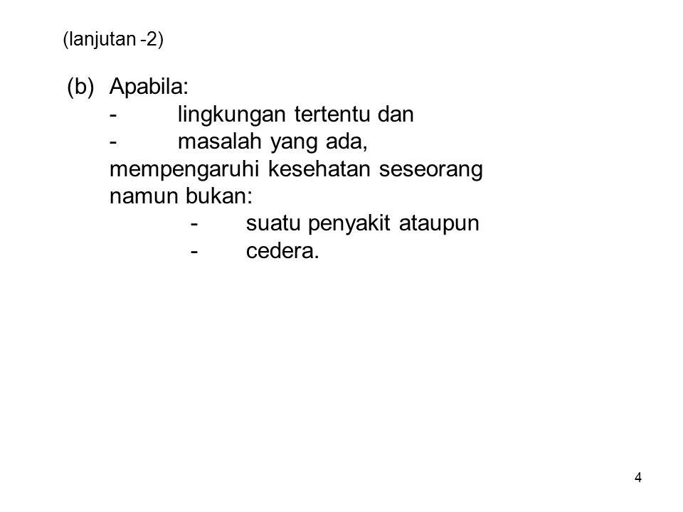 15 (Lanjutan ) [990 -993] Z30-Z39Persons encountering health services in circumstances related to reproduction (Pengunjung pelayanan kesehatan berkaitan dengan reproduksi/keturunan) Contoh: - Manajemen kontraseptif - Bayi tabung.