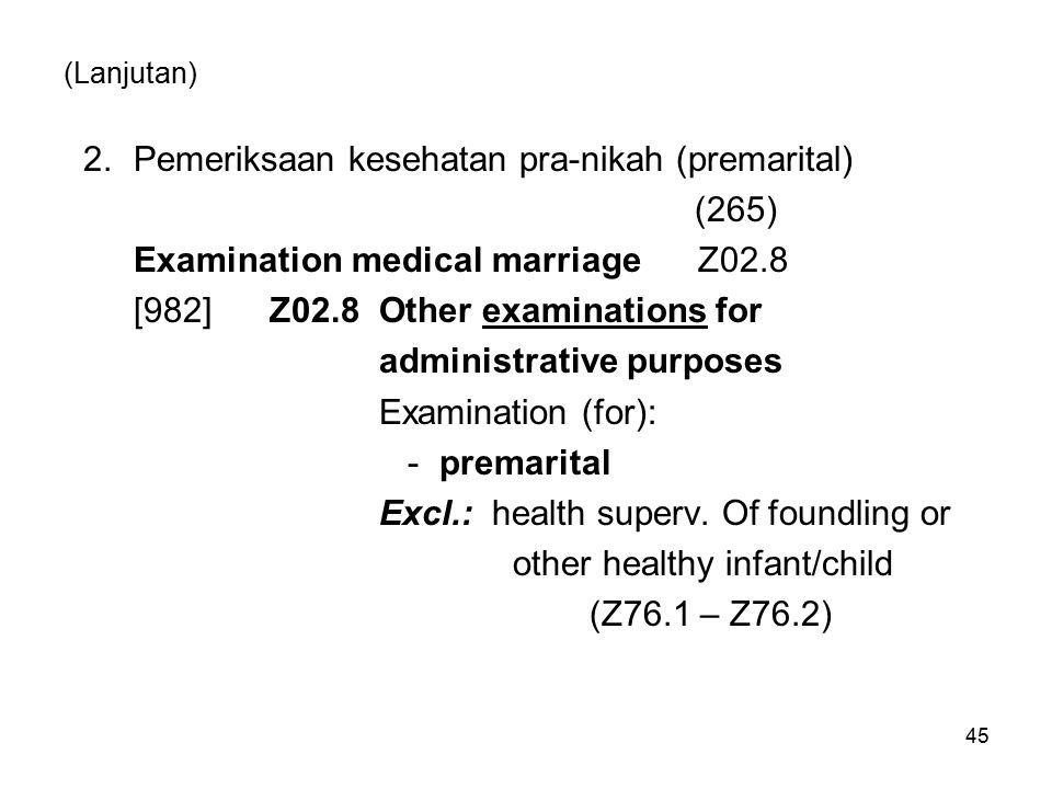(Lanjutan) 2.Pemeriksaan kesehatan pra-nikah (premarital) (265) Examination medical marriage Z02.8 [982] Z02.8 Other examinations for administrative p