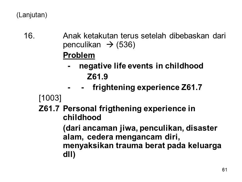 (Lanjutan) 16.Anak ketakutan terus setelah dibebaskan dari penculikan  (536) Problem - negative life events in childhood Z61.9 - - frightening experi