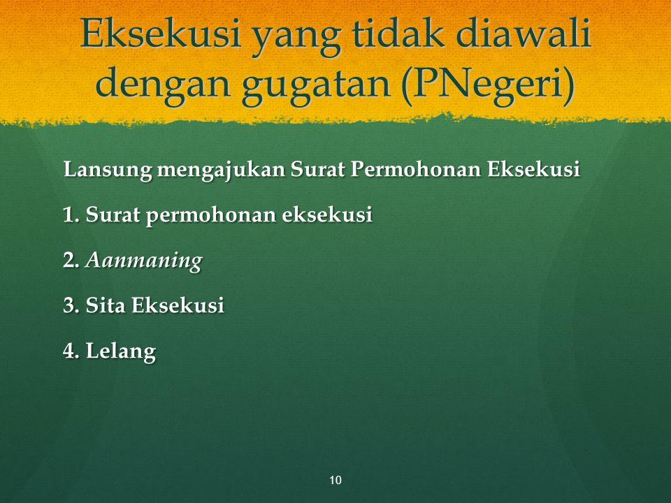 Eksekusi yang tidak diawali dengan gugatan (PNegeri) Lansung mengajukan Surat Permohonan Eksekusi 1. Surat permohonan eksekusi 2. Aanmaning 3. Sita Ek