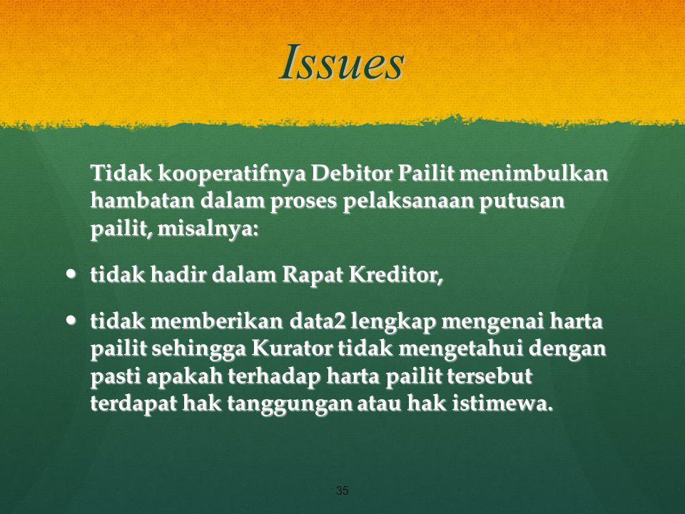 Issues Tidak kooperatifnya Debitor Pailit menimbulkan hambatan dalam proses pelaksanaan putusan pailit, misalnya: tidak hadir dalam Rapat Kreditor, ti