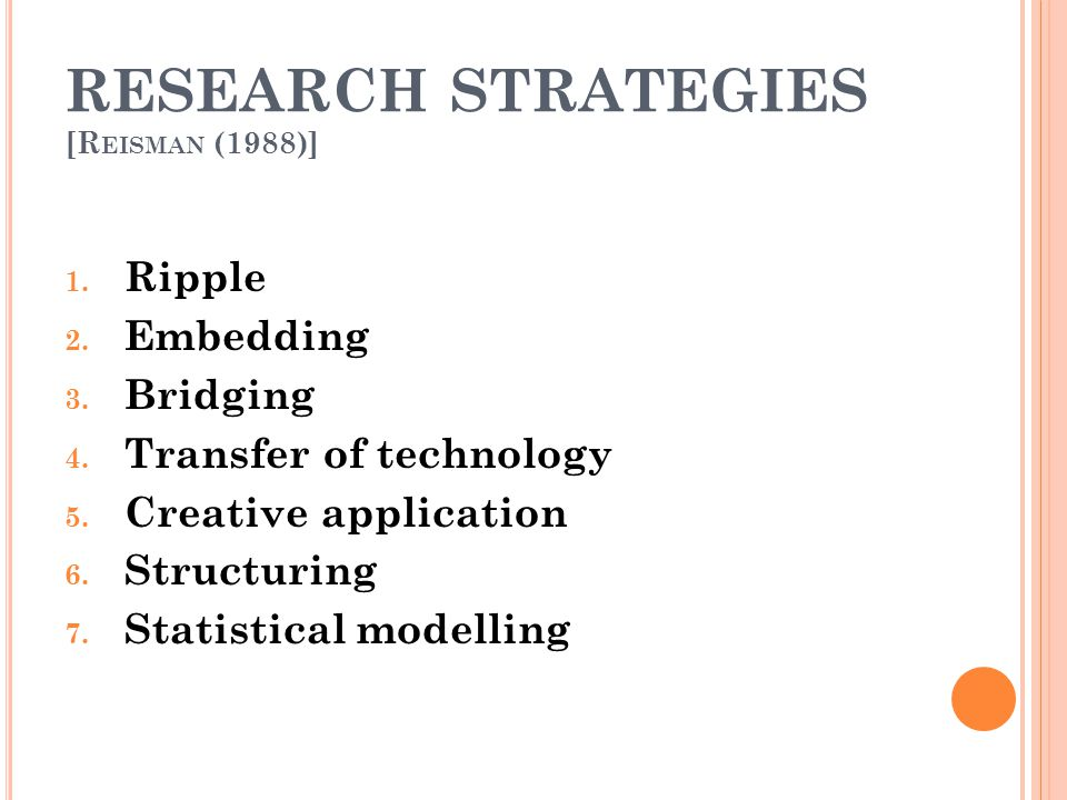 RESEARCH STRATEGIES [R EISMAN (1988)] 1.Ripple 2.