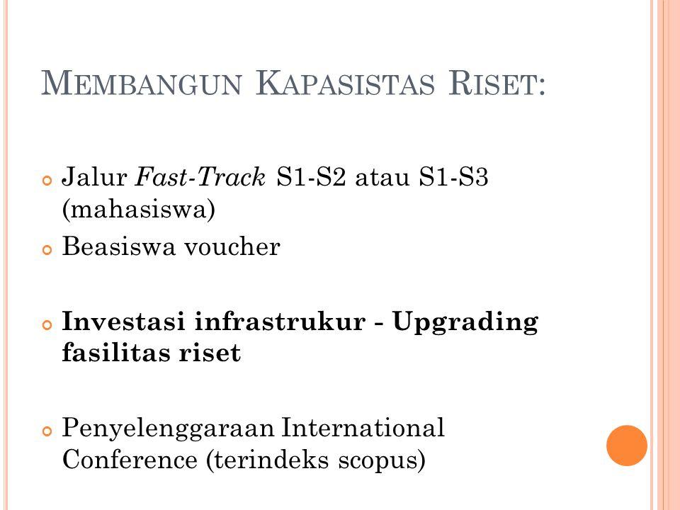 M EMBANGUN K APASISTAS R ISET : Jalur Fast-Track S1-S2 atau S1-S3 (mahasiswa) Beasiswa voucher Investasi infrastrukur - Upgrading fasilitas riset Peny