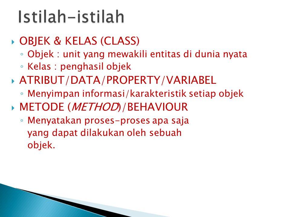  OBJEK & KELAS (CLASS) ◦ Objek : unit yang mewakili entitas di dunia nyata ◦ Kelas : penghasil objek  ATRIBUT/DATA/PROPERTY/VARIABEL ◦ Menyimpan inf