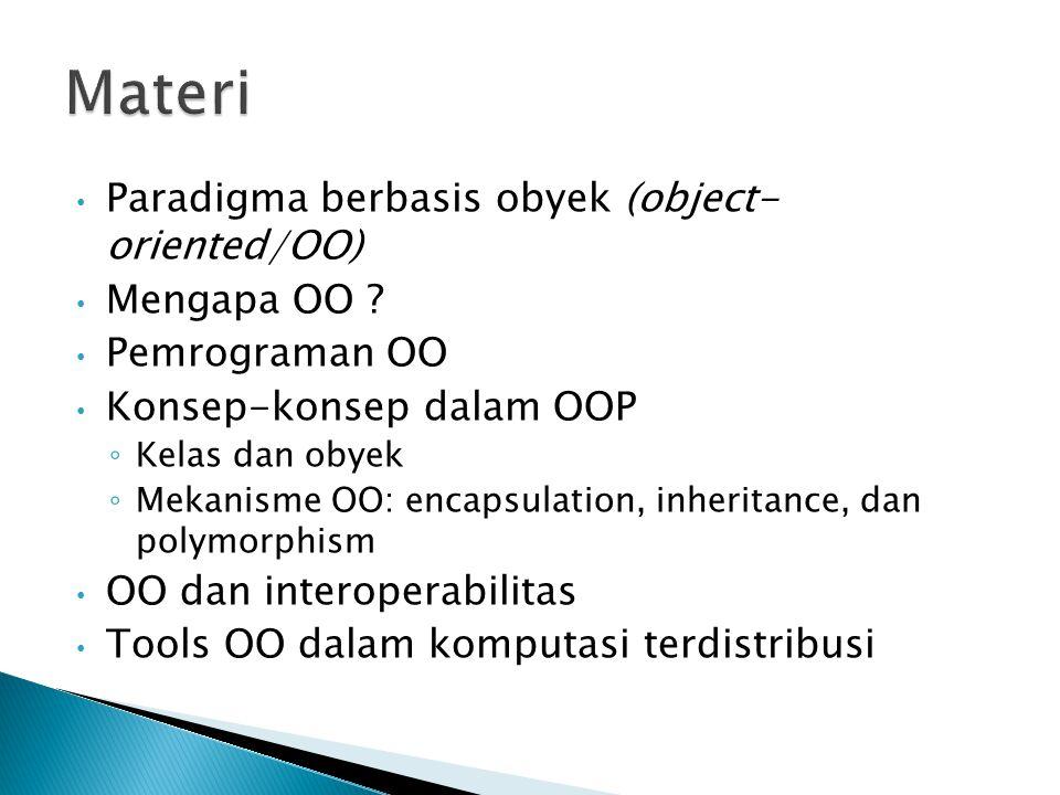 Paradigma berbasis obyek (object- oriented/OO) Mengapa OO ? Pemrograman OO Konsep-konsep dalam OOP ◦ Kelas dan obyek ◦ Mekanisme OO: encapsulation, in