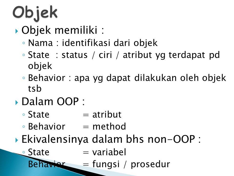  Objek memiliki : ◦ Nama : identifikasi dari objek ◦ State : status / ciri / atribut yg terdapat pd objek ◦ Behavior : apa yg dapat dilakukan oleh ob