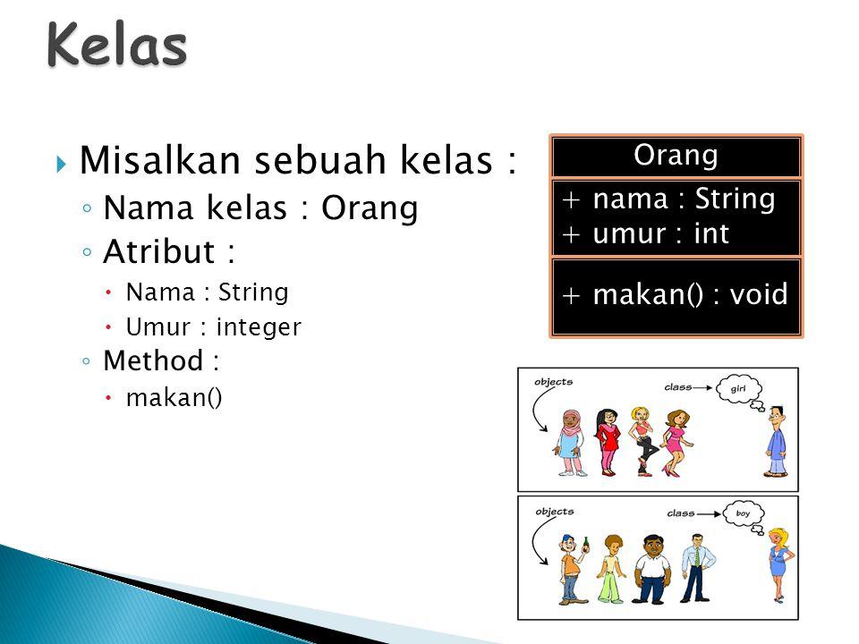  Misalkan sebuah kelas : ◦ Nama kelas : Orang ◦ Atribut :  Nama : String  Umur : integer ◦ Method :  makan() Orang + nama : String + umur : int +