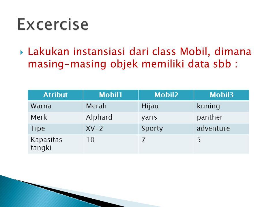  Lakukan instansiasi dari class Mobil, dimana masing-masing objek memiliki data sbb : AtributMobil1Mobil2Mobil3 WarnaMerahHijaukuning MerkAlphardyari