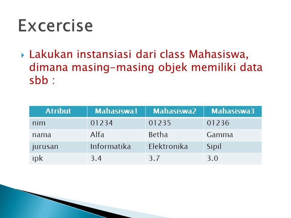  Lakukan instansiasi dari class Mahasiswa, dimana masing-masing objek memiliki data sbb : AtributMahasiswa1Mahasiswa2Mahasiswa3 nim012340123501236 na