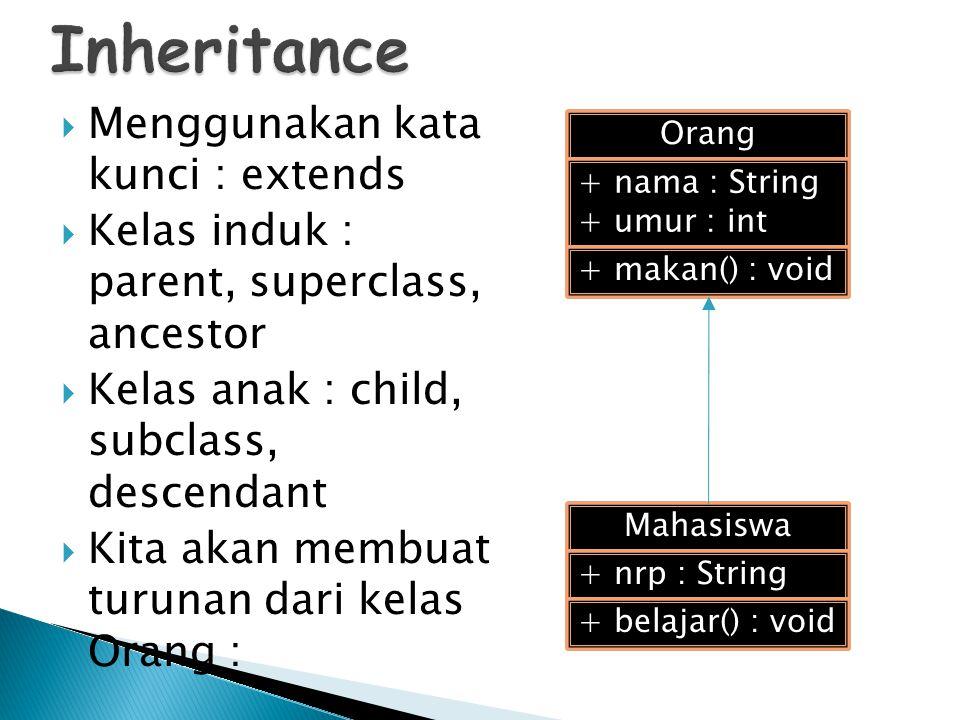  Menggunakan kata kunci : extends  Kelas induk : parent, superclass, ancestor  Kelas anak : child, subclass, descendant  Kita akan membuat turunan