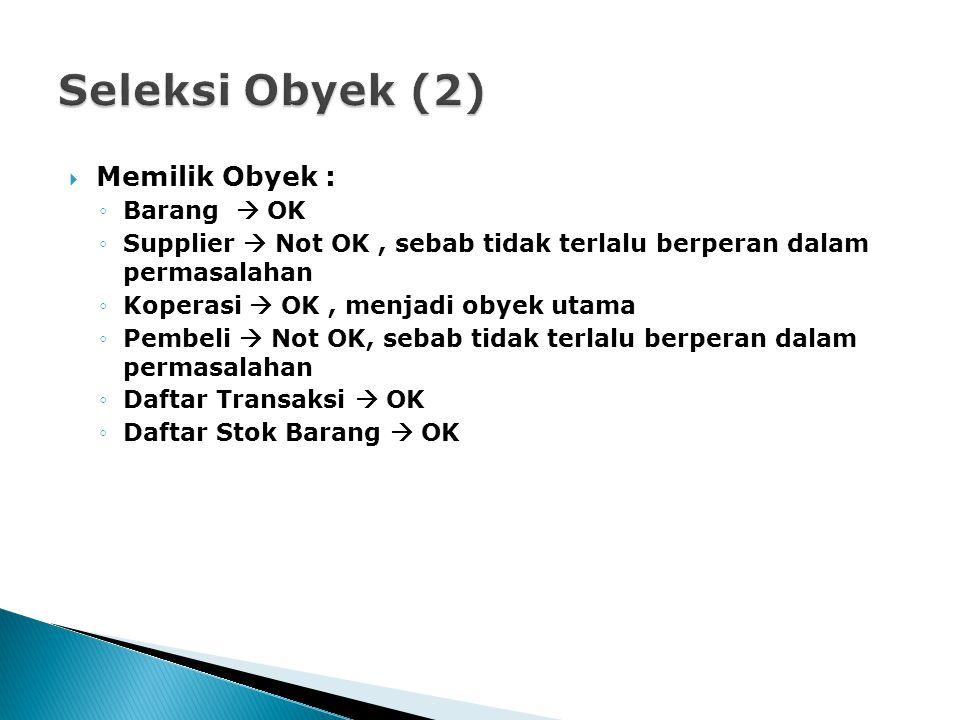  Memilik Obyek : ◦Barang  OK ◦Supplier  Not OK, sebab tidak terlalu berperan dalam permasalahan ◦Koperasi  OK, menjadi obyek utama ◦Pembeli  Not
