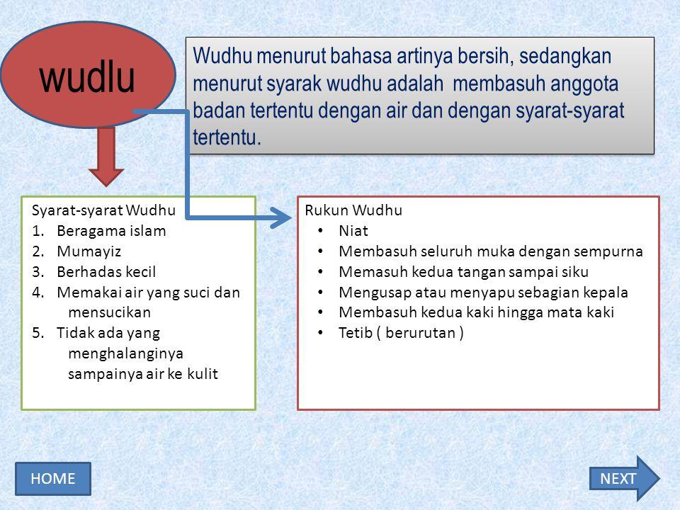 Wudhu menurut bahasa artinya bersih, sedangkan menurut syarak wudhu adalah membasuh anggota badan tertentu dengan air dan dengan syarat-syarat tertentu.