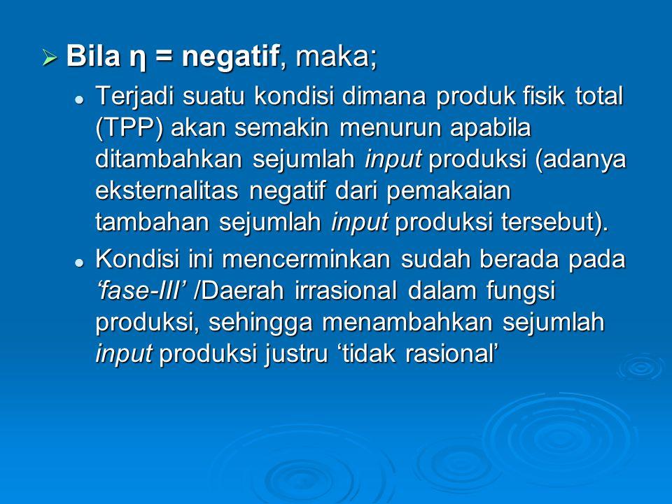  Bila η = negatif, maka; Terjadi suatu kondisi dimana produk fisik total (TPP) akan semakin menurun apabila ditambahkan sejumlah input produksi (adanya eksternalitas negatif dari pemakaian tambahan sejumlah input produksi tersebut).