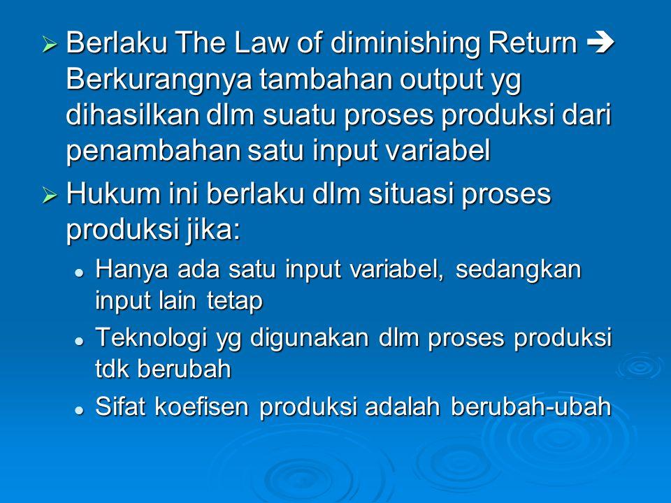  Ada 4 kondisi nilai elastisitas: Nilai elastisitas produksi (η) > 1 Nilai elastisitas produksi (η) > 1 apabila ditingkatkan penggunaan input produksi fisik sebesar 1% (satu persen), maka akan dapat memberikan tambahan output/produksi fisik sebesar 'lebih besar' dari 1% (satu persen) Nilai elastisitas produksi (η) < 1 Nilai elastisitas produksi (η) < 1 Nilai elastisitas produksi (η) = 0 Nilai elastisitas produksi (η) = 0 Nilai elastisitas produksi (η) = negatif Nilai elastisitas produksi (η) = negatif