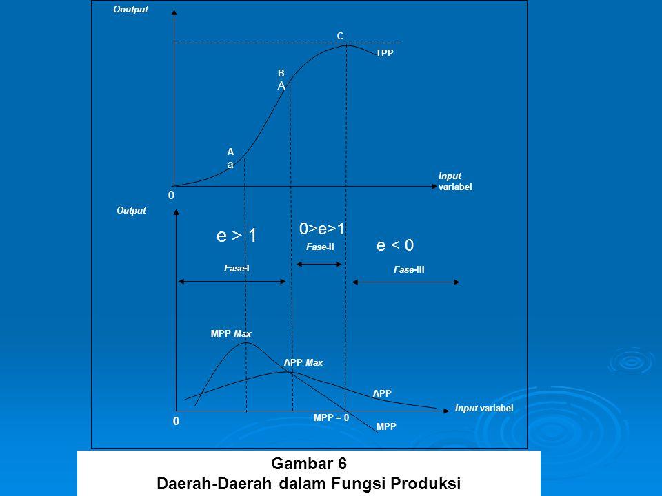 MPP Ooutput MPP-Max Fase-II Fase-I APP APP-Max TPP MPP = 0 Input variabel Output Fase-III 0 0 C BABA AaAa Gambar 6 Daerah-Daerah dalam Fungsi Produksi e > 1 0>e>1 e < 0