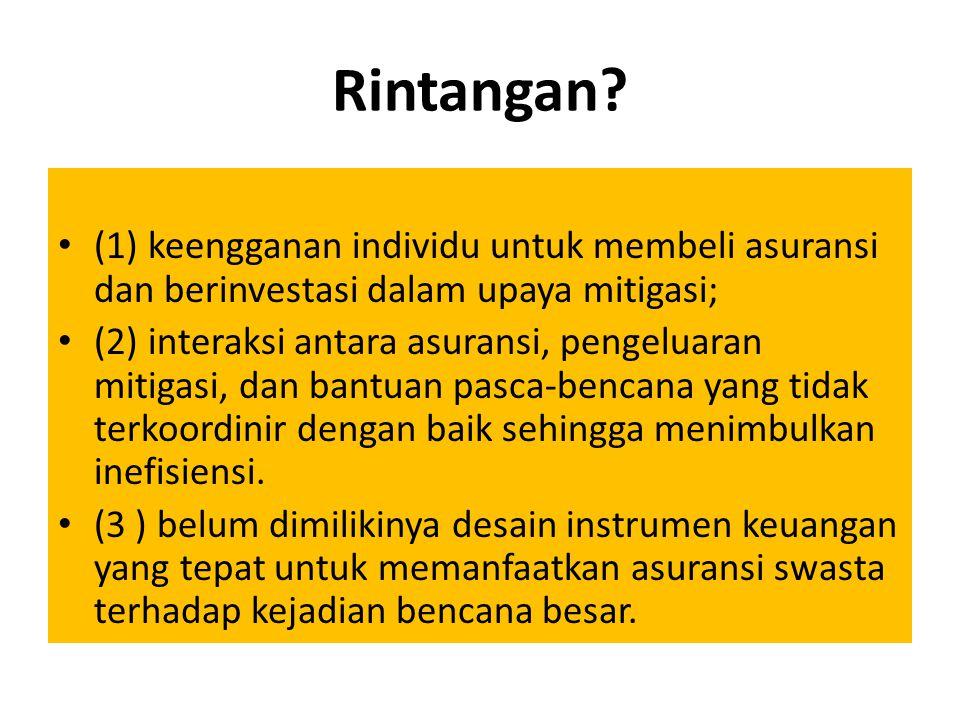Rintangan? (1) keengganan individu untuk membeli asuransi dan berinvestasi dalam upaya mitigasi; (2) interaksi antara asuransi, pengeluaran mitigasi,