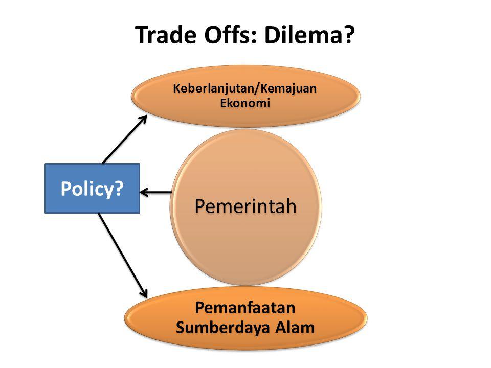 Trade Offs: Dilema? Pemerintah Keberlanjutan/Kemajuan Ekonomi Pemanfaatan Sumberdaya Alam Policy?