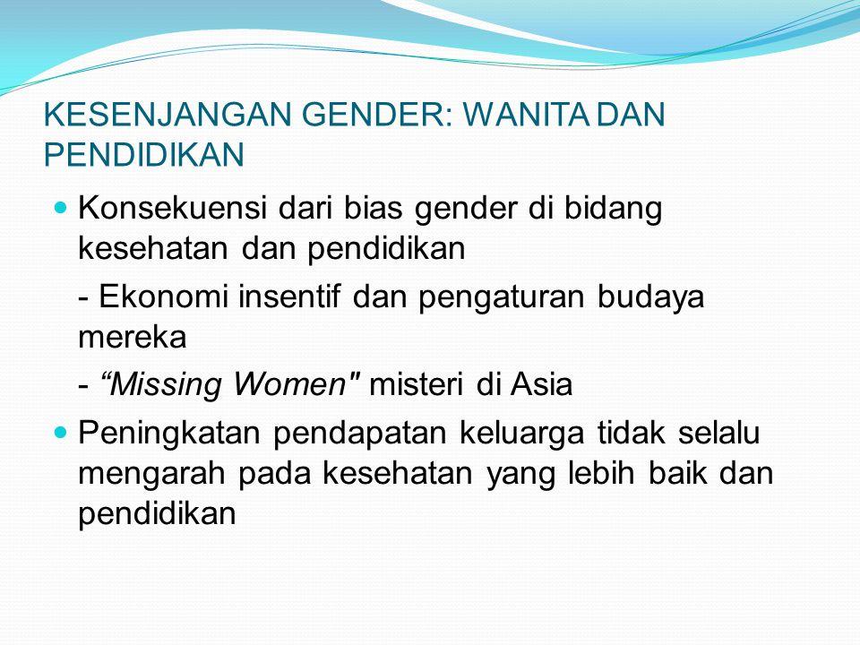 KESENJANGAN GENDER: WANITA DAN PENDIDIKAN Konsekuensi dari bias gender di bidang kesehatan dan pendidikan - Ekonomi insentif dan pengaturan budaya mer