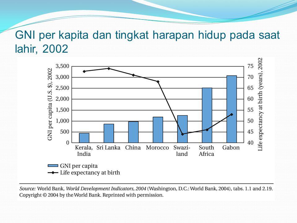 GNI per kapita dan tingkat harapan hidup pada saat lahir, 2002