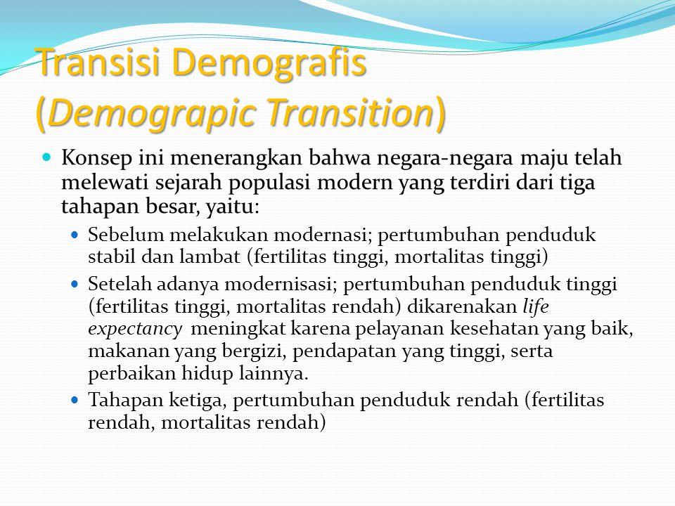 Transisi Demografis (Demograpic Transition) Konsep ini menerangkan bahwa negara-negara maju telah melewati sejarah populasi modern yang terdiri dari t