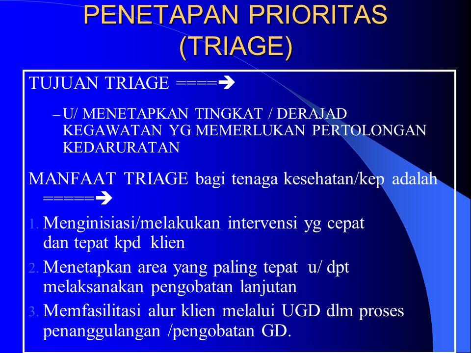 Pengkajian thd Prioritas Pelayanan GD berdasarkan pada ==> Perubahan TTV yg signifikan spt :Hipo/Hipertensi,Disritmia,Distres pernapasan,Hipo/Hiperter