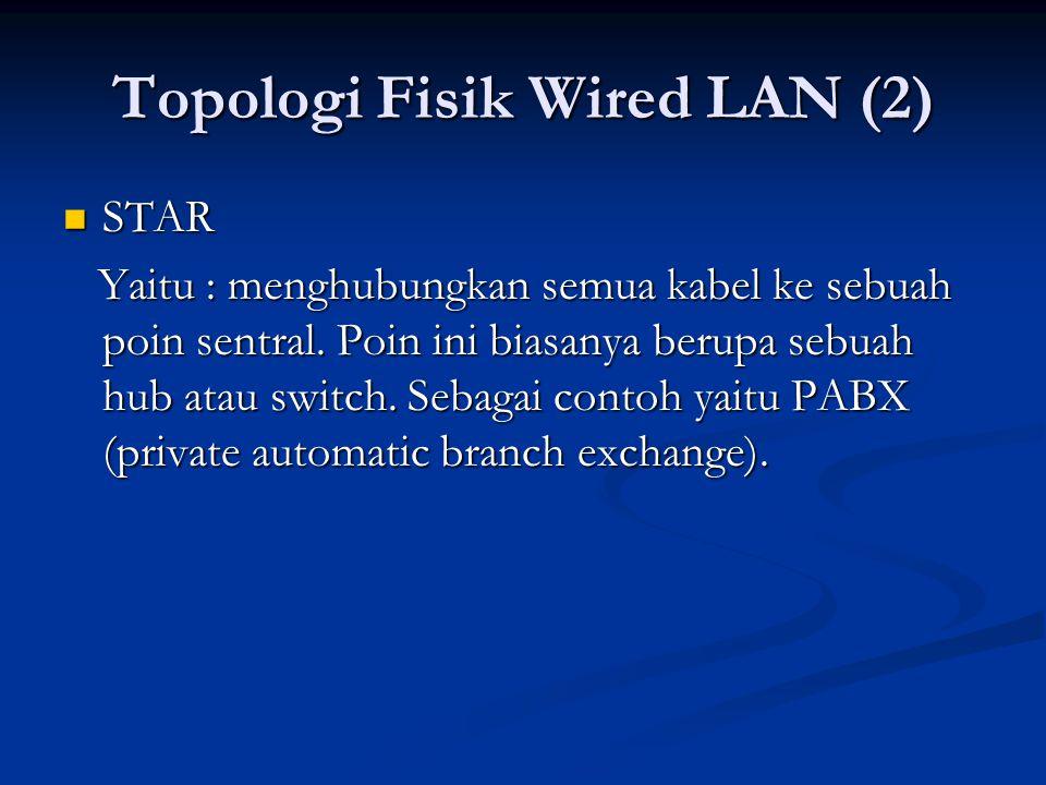 STAR STAR Yaitu : menghubungkan semua kabel ke sebuah poin sentral.
