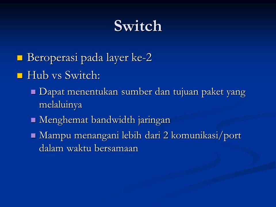Switch Beroperasi pada layer ke-2 Beroperasi pada layer ke-2 Hub vs Switch: Hub vs Switch: Dapat menentukan sumber dan tujuan paket yang melaluinya Dapat menentukan sumber dan tujuan paket yang melaluinya Menghemat bandwidth jaringan Menghemat bandwidth jaringan Mampu menangani lebih dari 2 komunikasi/port dalam waktu bersamaan Mampu menangani lebih dari 2 komunikasi/port dalam waktu bersamaan
