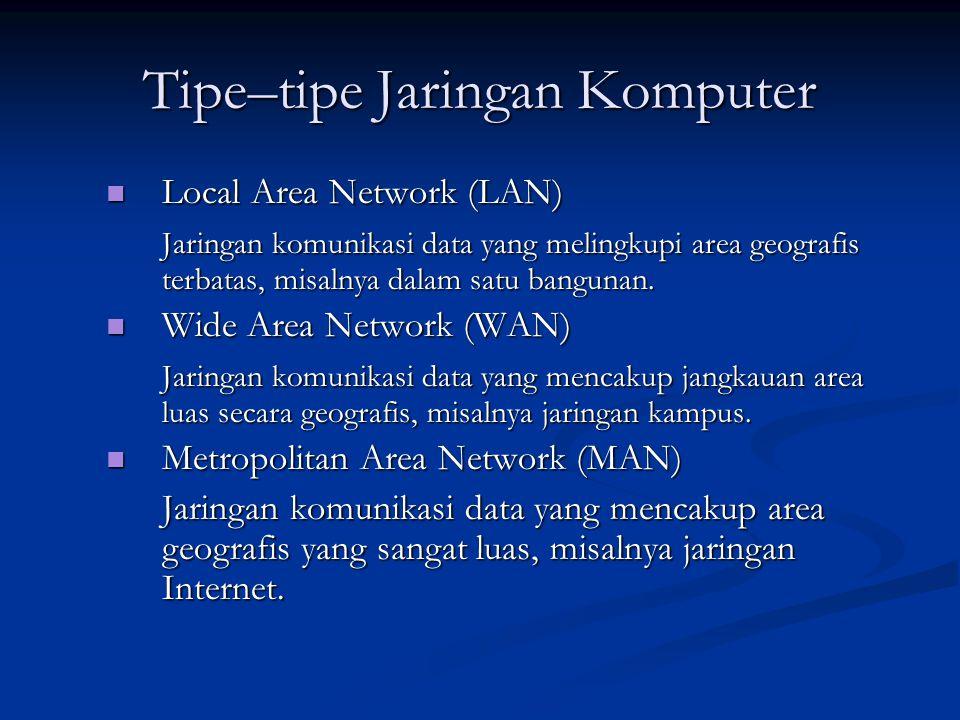 Tipe–tipe Jaringan Komputer Local Area Network (LAN) Local Area Network (LAN) Jaringan komunikasi data yang melingkupi area geografis terbatas, misalnya dalam satu bangunan.