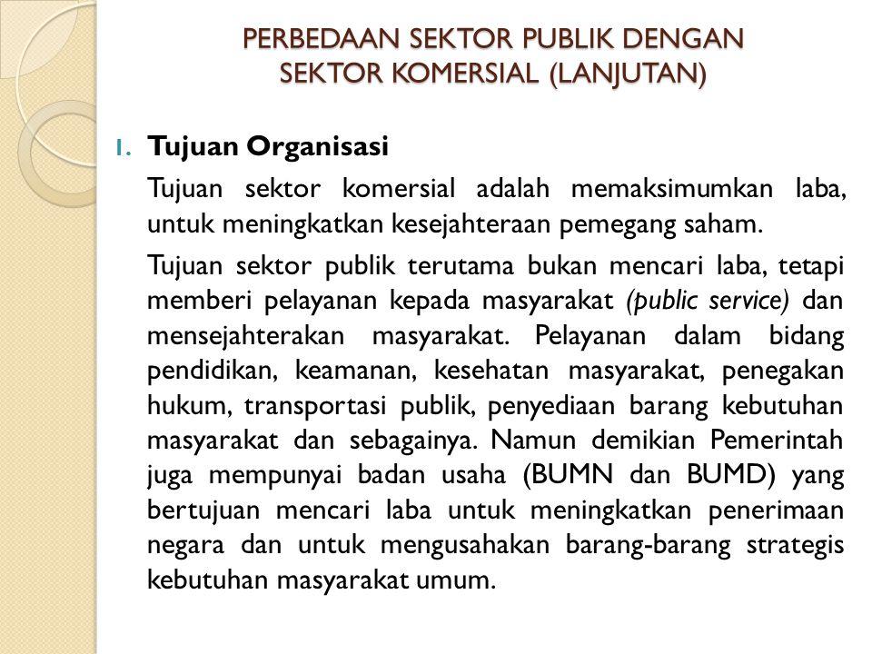 PERBEDAAN SEKTOR PUBLIK DENGAN SEKTOR KOMERSIAL (LANJUTAN) 1. Tujuan Organisasi Tujuan sektor komersial adalah memaksimumkan laba, untuk meningkatkan