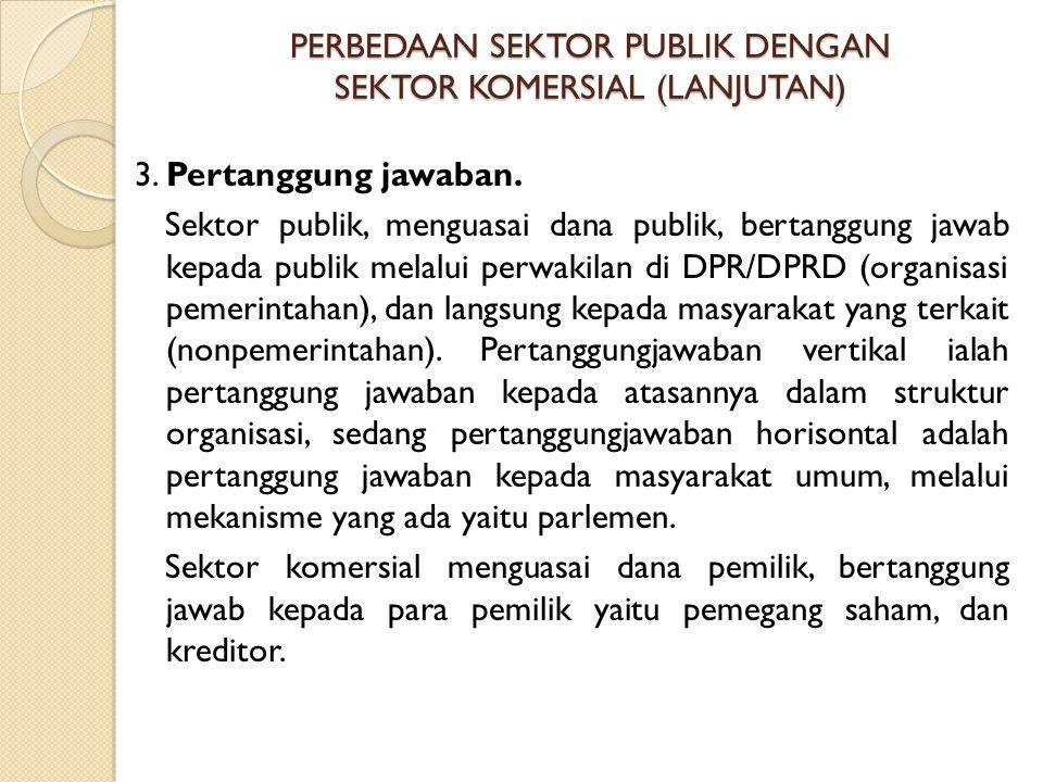 PERBEDAAN SEKTOR PUBLIK DENGAN SEKTOR KOMERSIAL (LANJUTAN) 3. Pertanggung jawaban. Sektor publik, menguasai dana publik, bertanggung jawab kepada publ