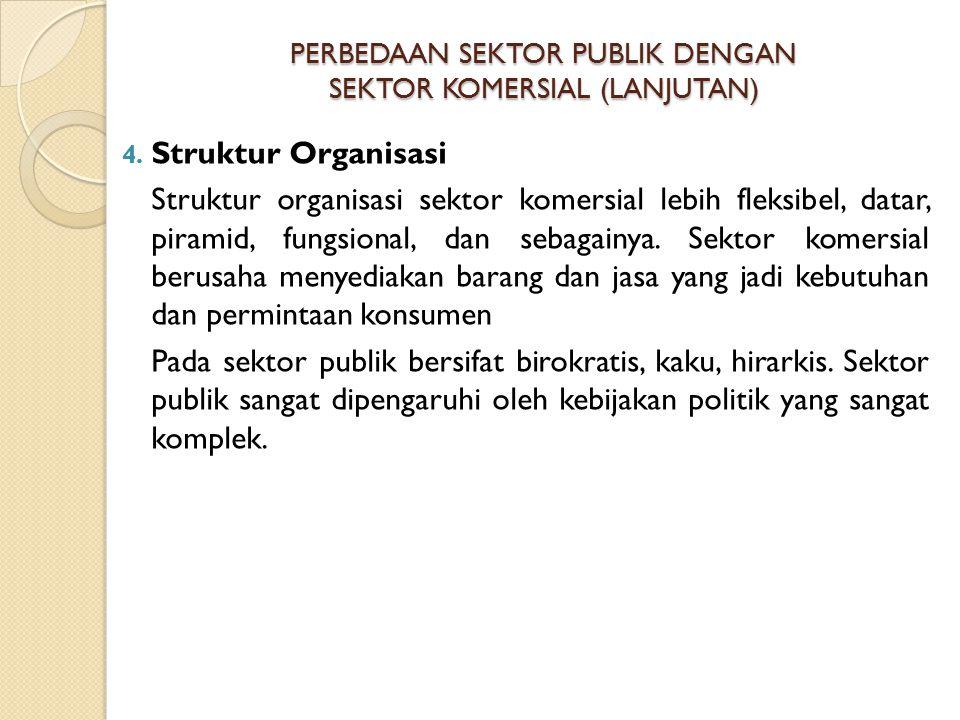 PERBEDAAN SEKTOR PUBLIK DENGAN SEKTOR KOMERSIAL (LANJUTAN) 4. Struktur Organisasi Struktur organisasi sektor komersial lebih fleksibel, datar, piramid