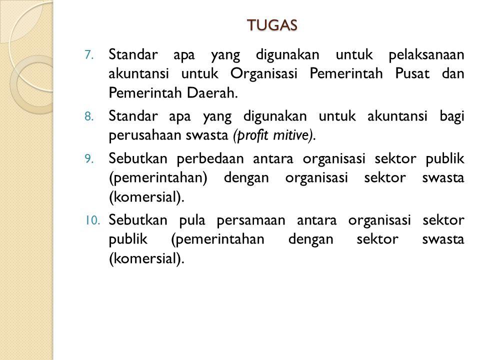 TUGAS 7. Standar apa yang digunakan untuk pelaksanaan akuntansi untuk Organisasi Pemerintah Pusat dan Pemerintah Daerah. 8. Standar apa yang digunakan
