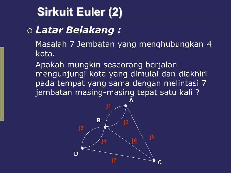 Teorema  Graf G memiliki Sirkuit Euler bila dan hanya bila G adalah graf yang terhubung dan semua titik dalam G mempunyai derajat genap.