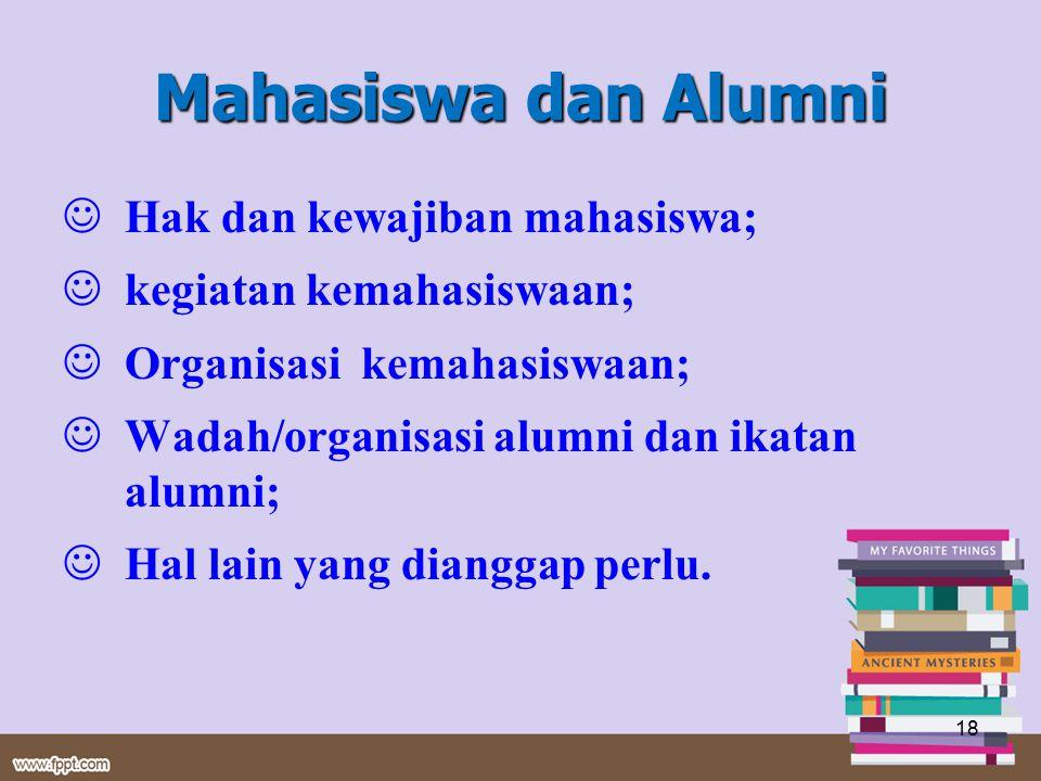 Mahasiswa dan Alumni Hak dan kewajiban mahasiswa; kegiatan kemahasiswaan; Organisasi kemahasiswaan; Wadah/organisasi alumni dan ikatan alumni; Hal lai