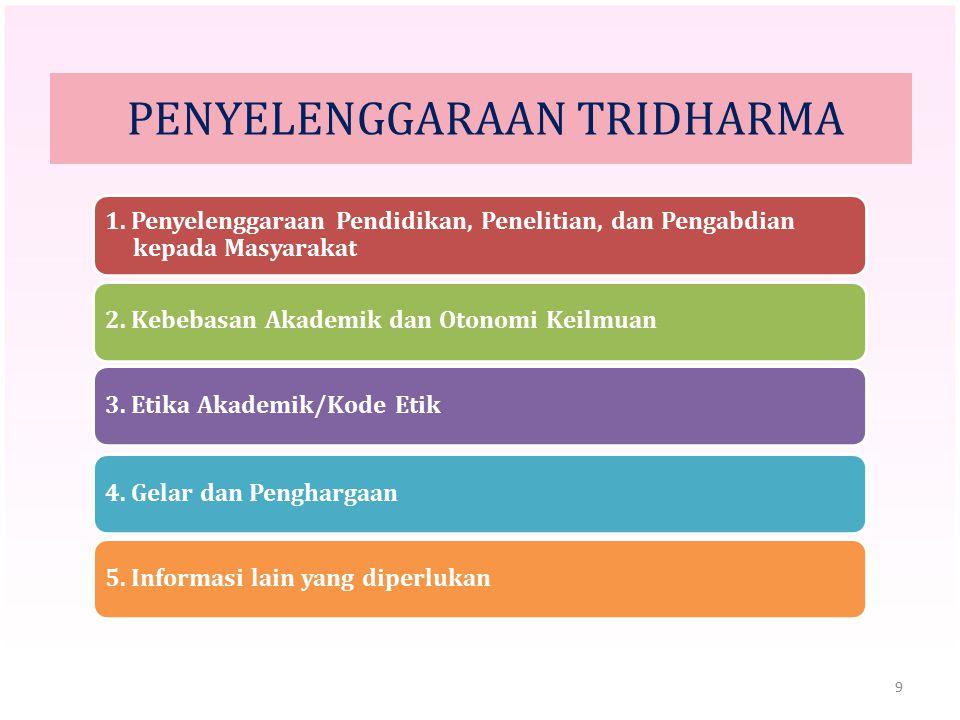 9 PENYELENGGARAAN TRIDHARMA 1. Penyelenggaraan Pendidikan, Penelitian, dan Pengabdian kepada Masyarakat 2. Kebebasan Akademik dan Otonomi Keilmuan3. E