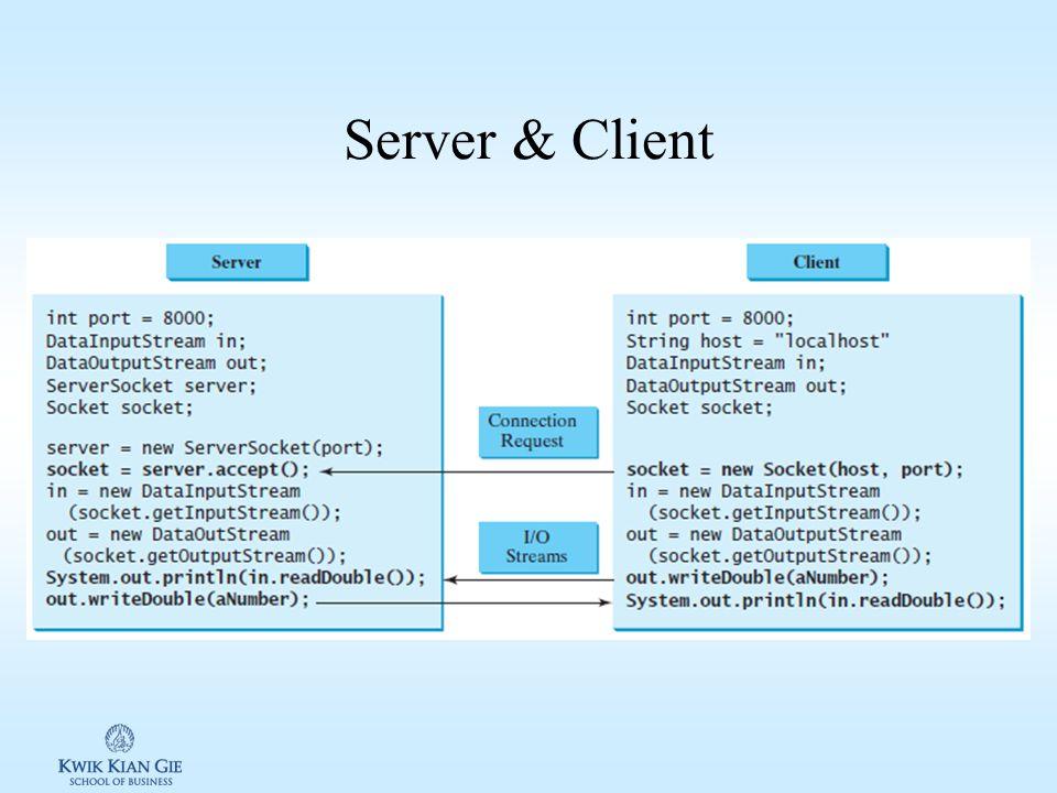 Transmisi data melalui Socket Setelah Server & Cliient terhubung/terkoneksi, barulah data dapat dikirim dan diterima dari kedua arah.