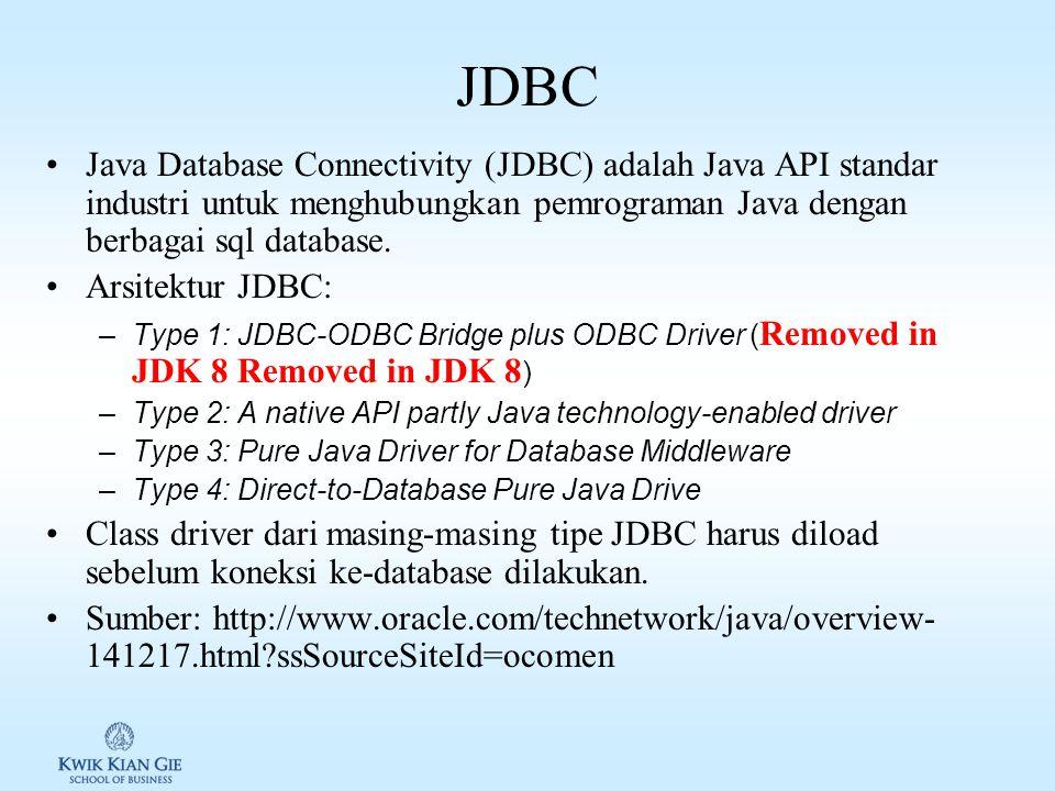Pemrograman Java Database Java menyediakan Library untuk mengakses sql database.