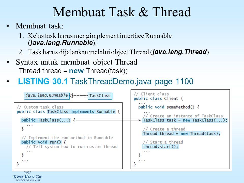 Konsep Thread Sebuah program dapat memiliki sejumlah task yang dijalan secara concurrent Multi CPU Single CPU