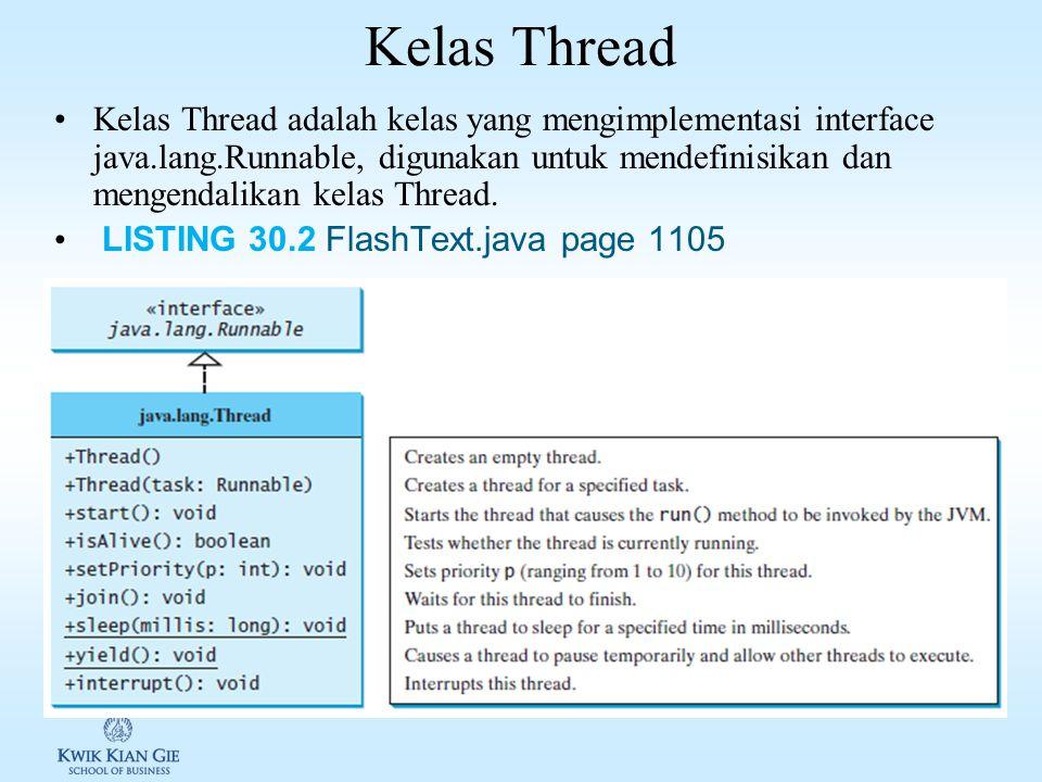 Membuat Task & Thread Membuat task: 1.Kelas task harus mengimplement interface Runnable ( java.lang.Runnable ).