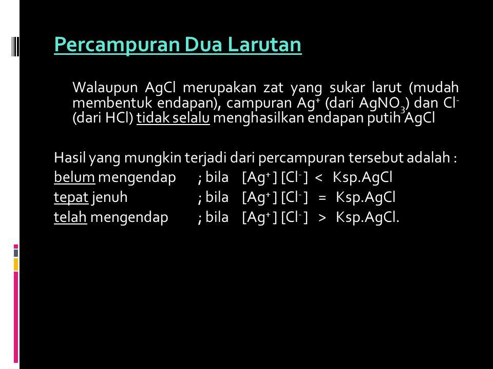 Percampuran Dua Larutan Walaupun AgCl merupakan zat yang sukar larut (mudah membentuk endapan), campuran Ag + (dari AgNO 3 ) dan Cl - (dari HCl) tidak