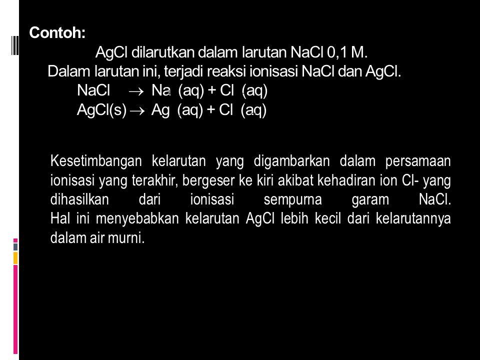 Contoh: AgCl dilarutkan dalam larutan NaCl 0,1 M. Dalam larutan ini, terjadi reaksi ionisasi NaCl dan AgCl. NaCl  Na (aq) + Cl (aq) AgCl(s)  Ag (aq)