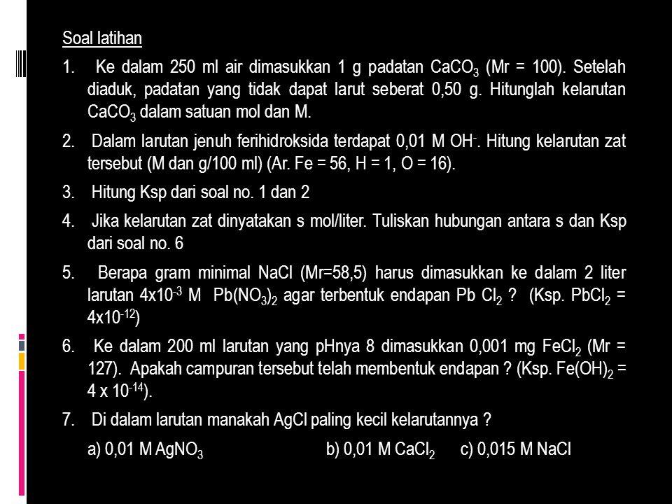 Soal latihan 1. Ke dalam 250 ml air dimasukkan 1 g padatan CaCO 3 (Mr = 100). Setelah diaduk, padatan yang tidak dapat larut seberat 0,50 g. Hitunglah