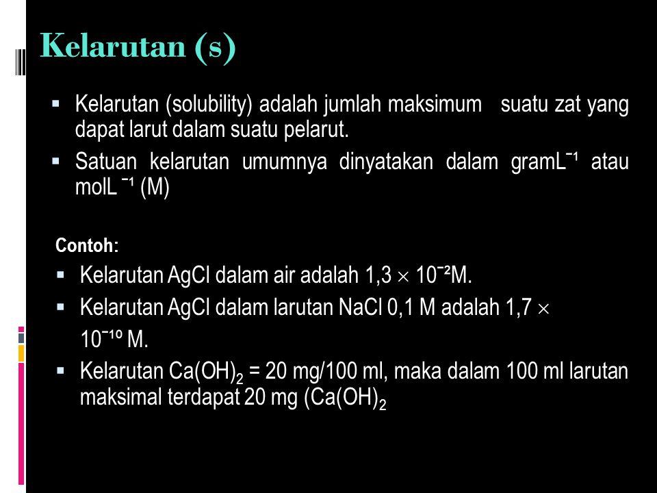 Besarnya kelarutan suatu zat dipengaruhi oleh beberapa faktor yaitu : JENIS PELARUT  Senyawa polar (mempunyai kutub muatan) akan mudah larut dalam senyawa polar.Misalnya gula, NaCl, alkohol, dan semua asam merupakan senyawa polar.