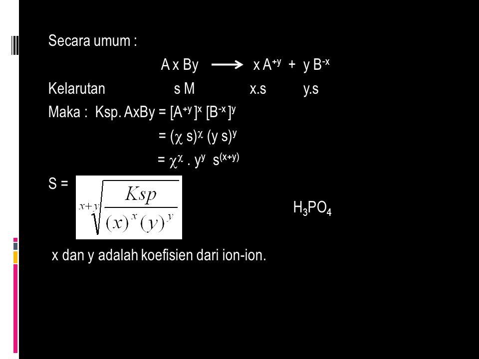 Secara umum : A x By x A +y + y B -x Kelarutan s M x.s y.s Maka : Ksp. AxBy = [A +y ] x [B -x ] y = (  s)  (y s) y =  . y y s (x+y) S = H 3 PO 4 x